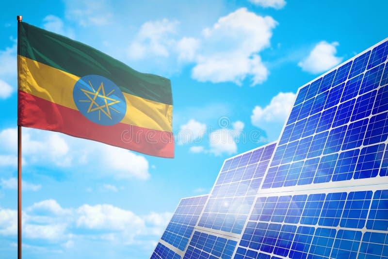 Etiopien alternativ energi, begrepp för sol- energi med den industriella illustrationen för flagga - symbol av kampen med global  stock illustrationer