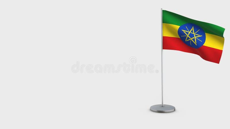 Etiopien 3D vinkande flaggaillustration royaltyfri illustrationer