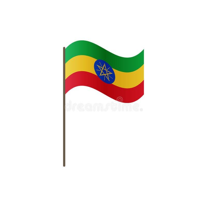 Etiopien flagga på flaggstången Representantfärger och proportion korrekt Vinka av den Etiopien flaggan på flaggstång, vektorillu vektor illustrationer