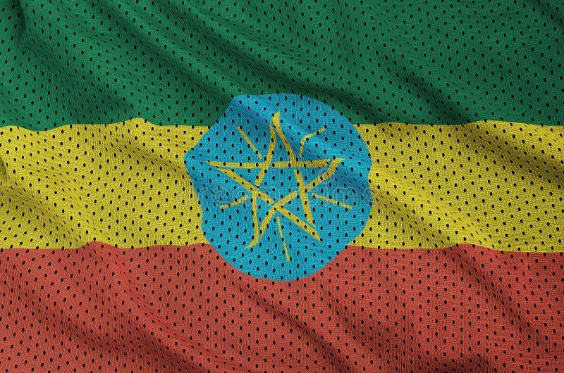Etiopien flagga som skrivs ut på en fabri för ingrepp för polyesternylonsportswear royaltyfri bild
