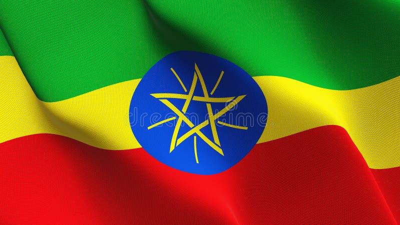 Etiopien flagga som vinkar på vind vektor illustrationer