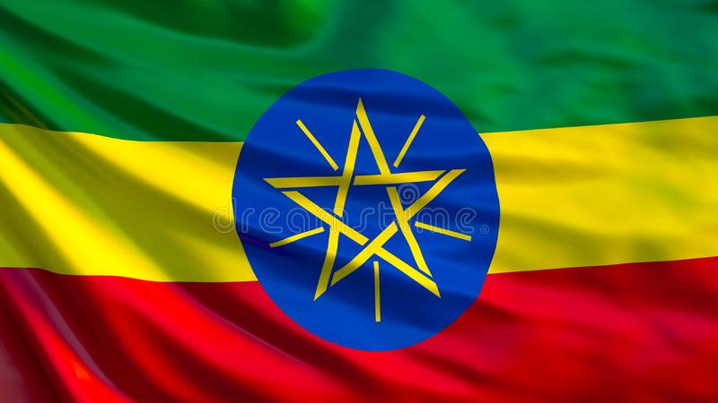 Etiopien flagga Vinkande flagga av den Etiopien 3d illustrationen vektor illustrationer