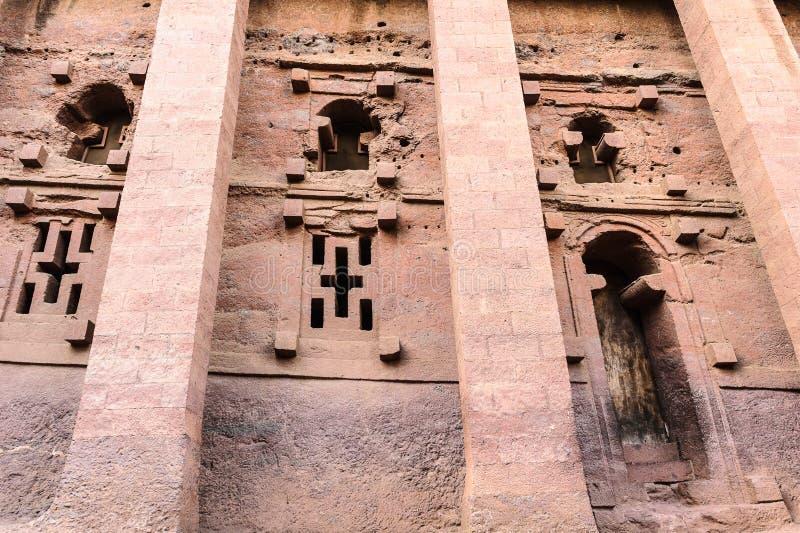 Etiopien Lalibela. Moniolitic vaggar snittkyrkan arkivbild