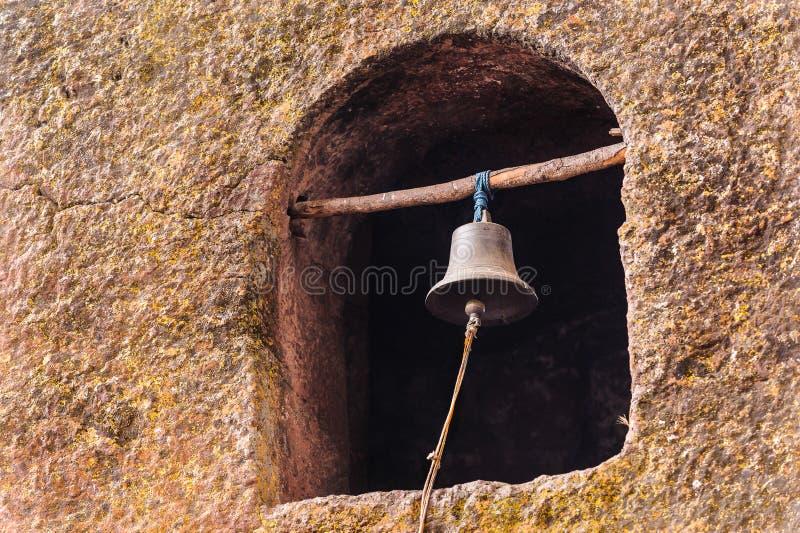 Etiopien Lalibela. Moniolitic vaggar snittkyrkan royaltyfria bilder