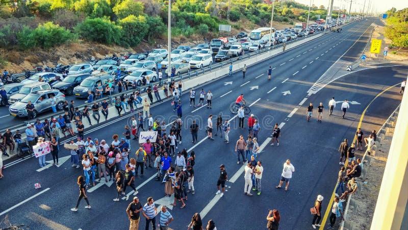 Etiopier-israelen gemenskap och deras supportrar stängde ner huvudvägen royaltyfria foton
