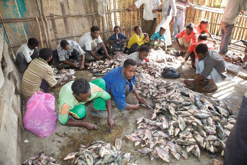 Den afrikanska fisken marknadsför royaltyfria bilder