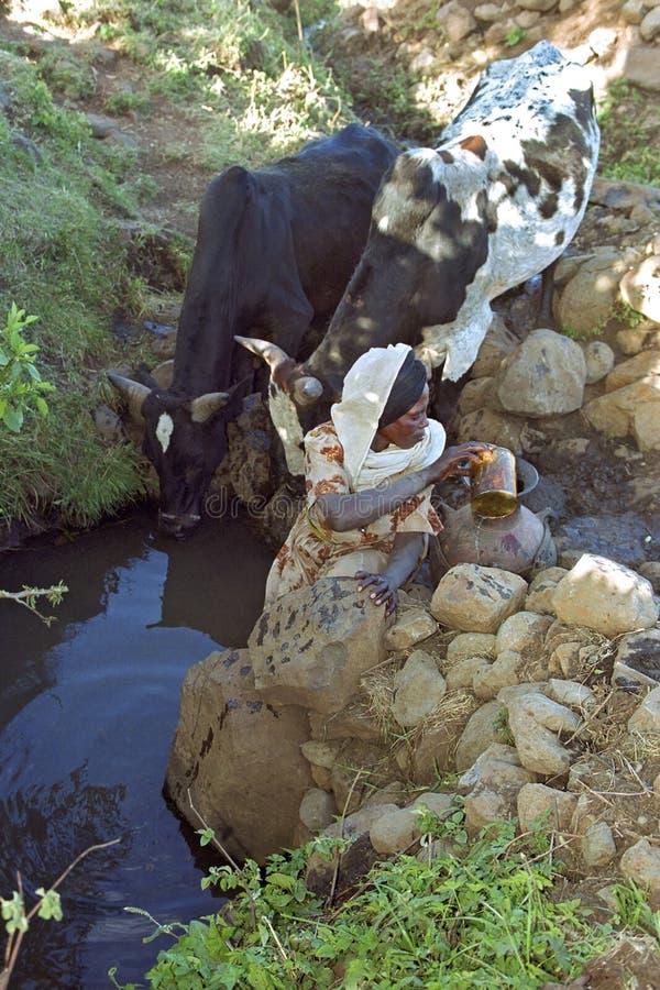 Etiopiskt kvinnafetchvatten från den naturliga brunnen royaltyfri foto