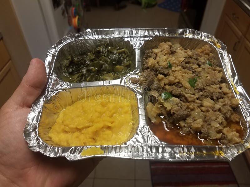 Etiopska karmowa wo?owina, jelito, szpinaki i koloru ? zdjęcie royalty free