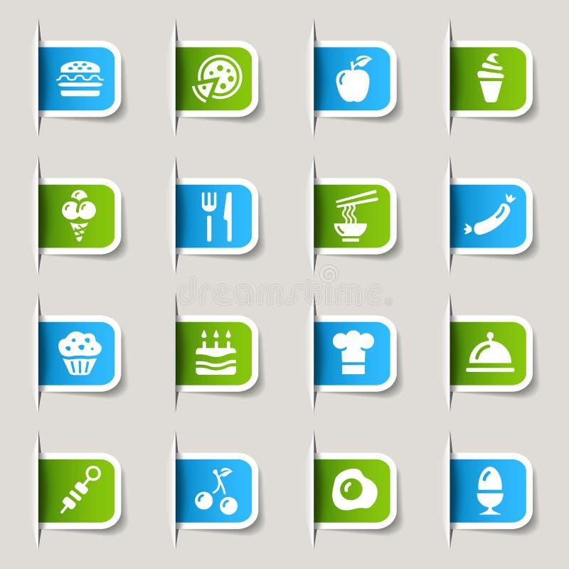 Etiqueta - ícones do alimento ilustração do vetor