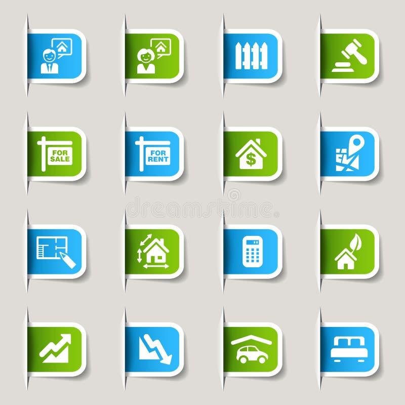 Etiqueta - ícones dos bens imobiliários ilustração stock