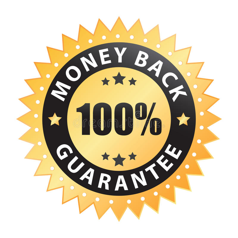 etiqueta 100% traseira da garantia do dinheiro (vetor) ilustração stock