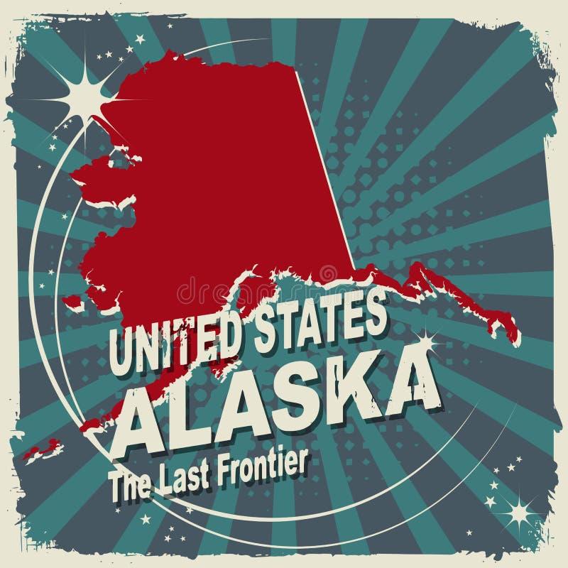 Etiqueta abstrata com nome e mapa de Alaska ilustração royalty free