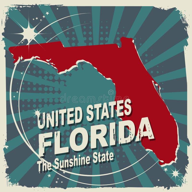 Etiqueta abstrata com nome e mapa de Florida ilustração royalty free