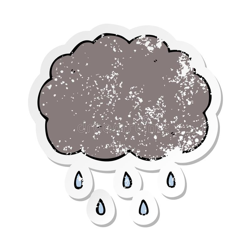 etiqueta afligida de chover da nuvem dos desenhos animados ilustração royalty free