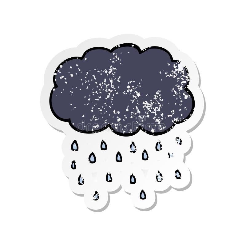 etiqueta afligida de chover da nuvem dos desenhos animados ilustração stock
