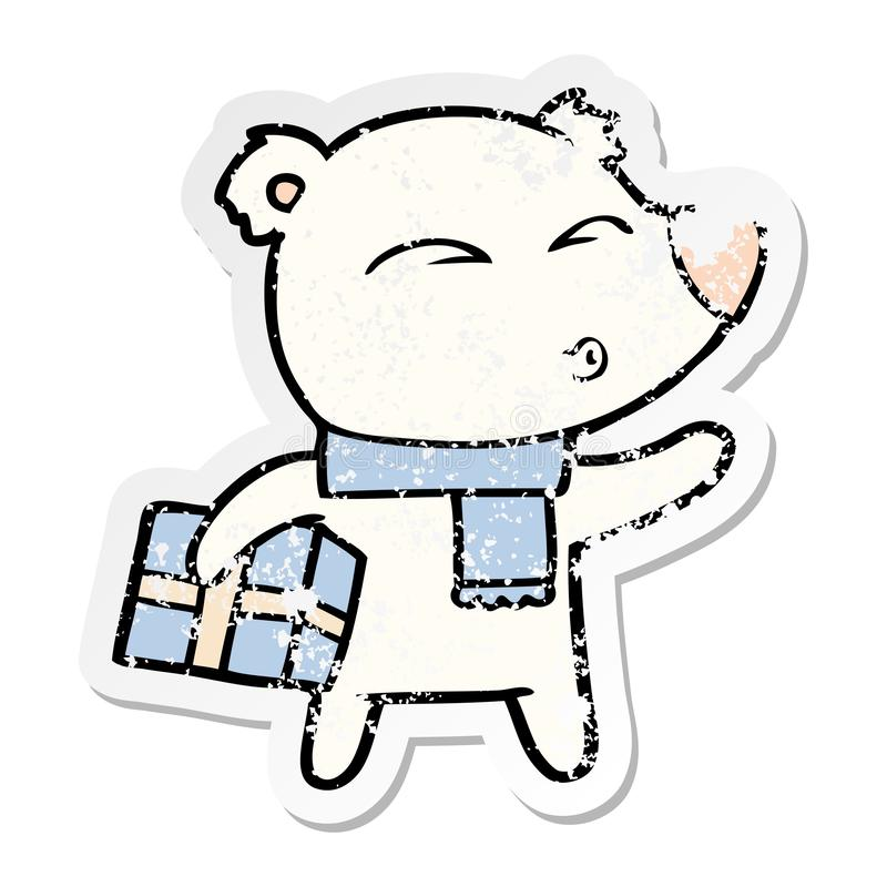 etiqueta afligida de um urso polar do Natal dos desenhos animados ilustração royalty free