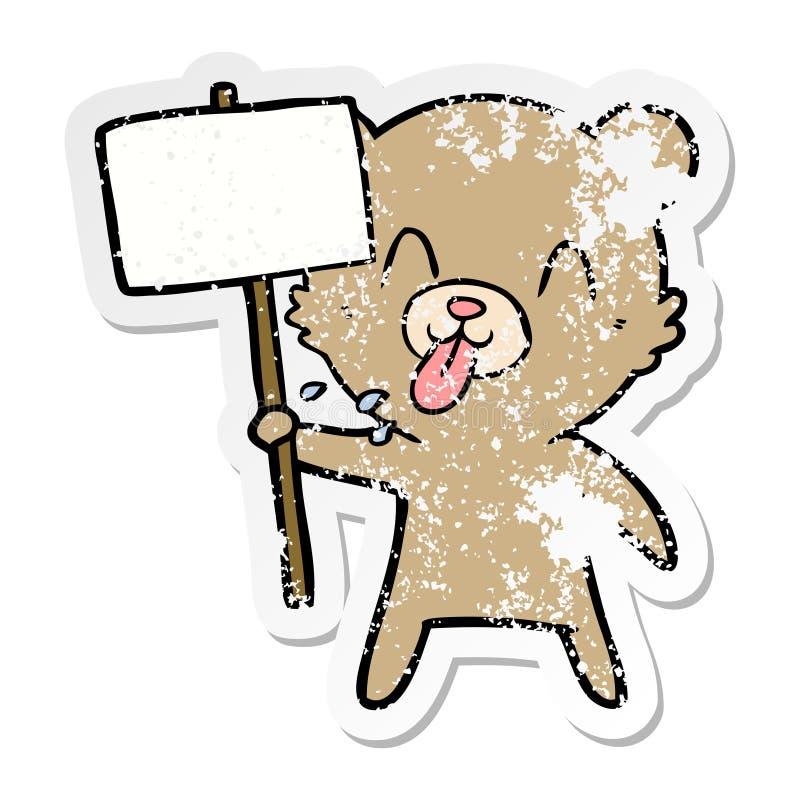 etiqueta afligida de um urso rude dos desenhos animados com sinal do protesto ilustração royalty free