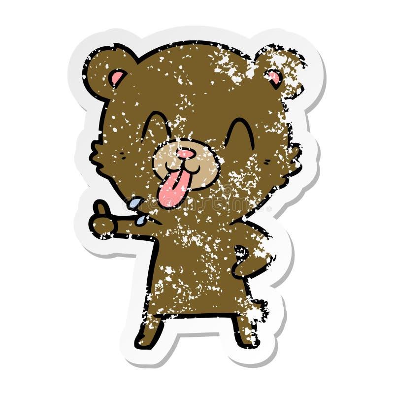 etiqueta afligida de um urso rude dos desenhos animados ilustração do vetor