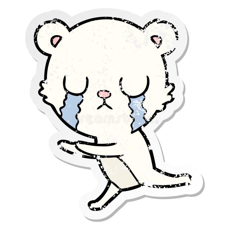 etiqueta afligida de uns desenhos animados de grito do urso polar ilustração stock
