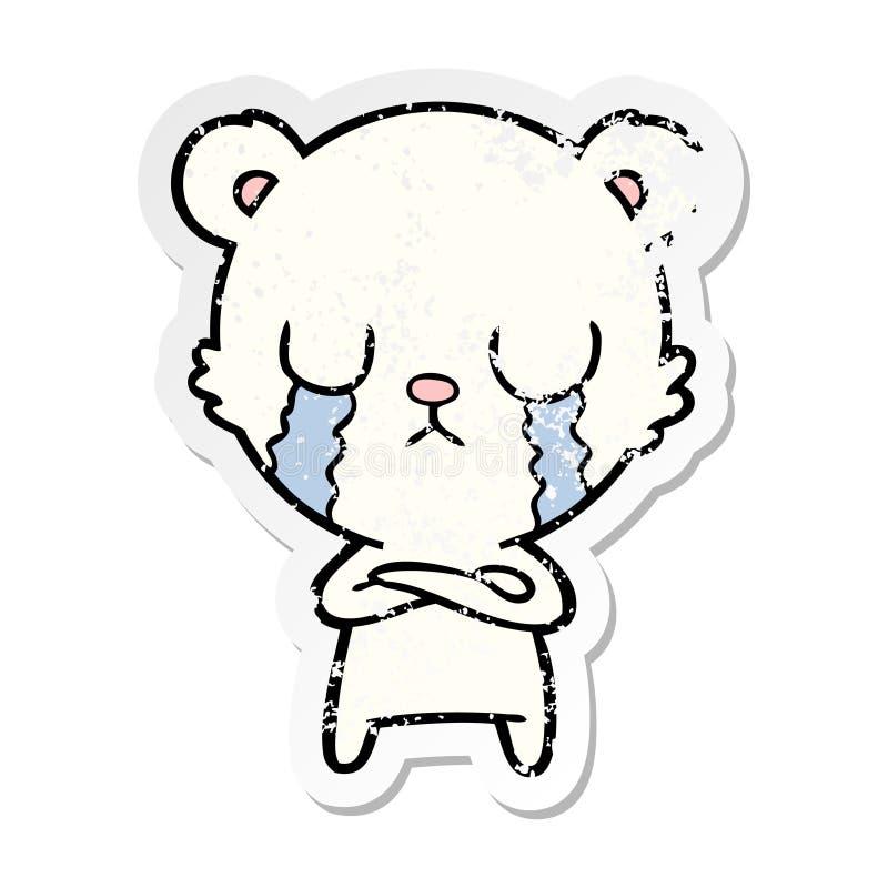 etiqueta afligida de uns desenhos animados de grito do urso polar ilustração do vetor