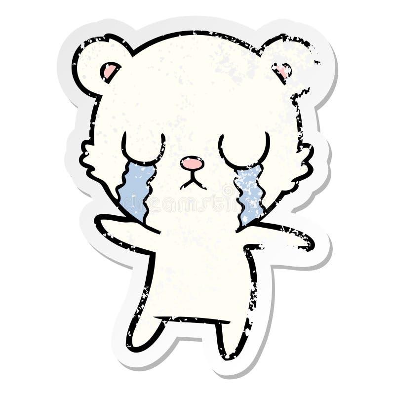 etiqueta afligida de uns desenhos animados de grito do urso polar ilustração royalty free