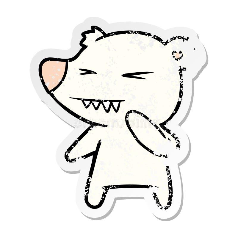 etiqueta afligida de uns desenhos animados irritados do urso polar ilustração royalty free