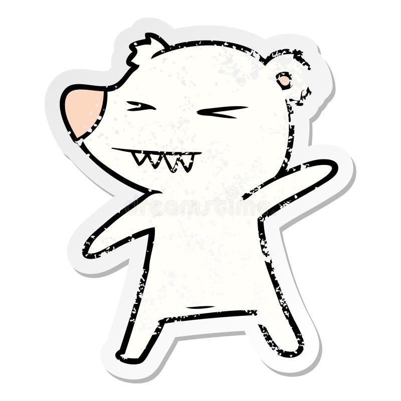 etiqueta afligida de uns desenhos animados irritados do urso polar ilustração stock