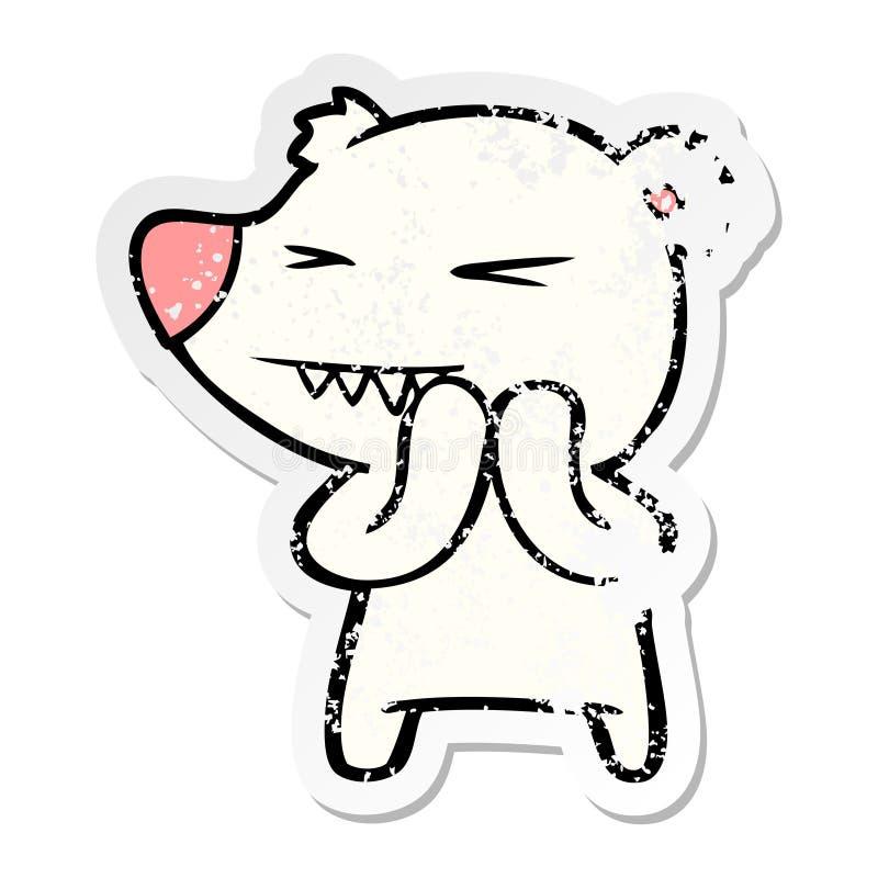 etiqueta afligida de uns desenhos animados irritados do urso polar ilustração do vetor
