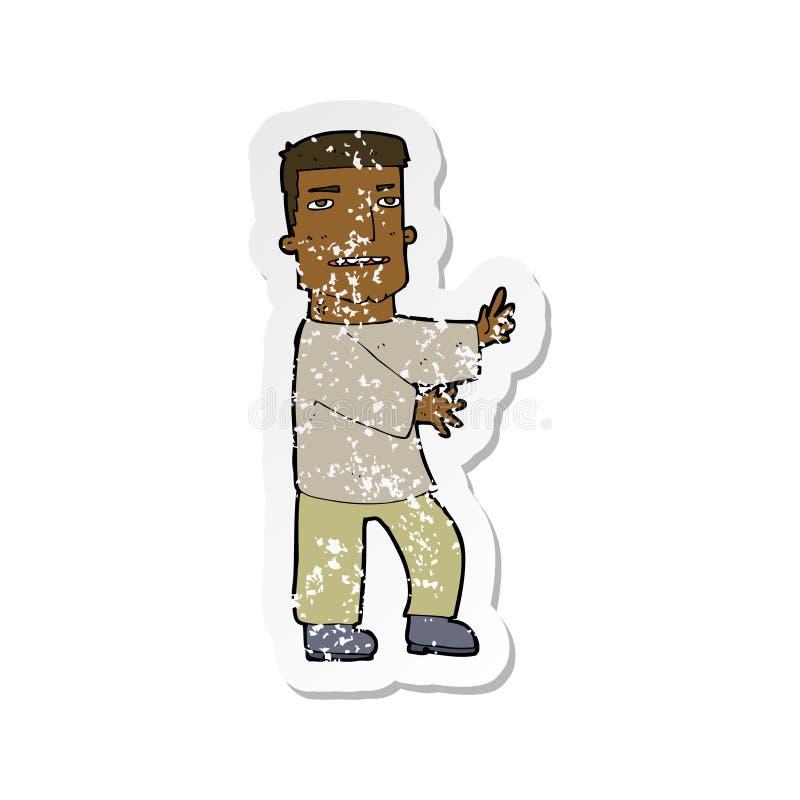 etiqueta afligida retro de gesticular do homem dos desenhos animados ilustração do vetor