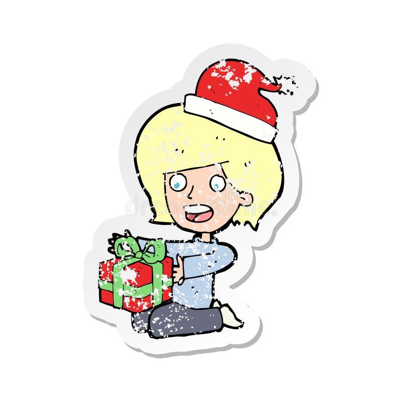 etiqueta afligida retro de presentes de abertura de uma mulher dos desenhos animados ilustração stock