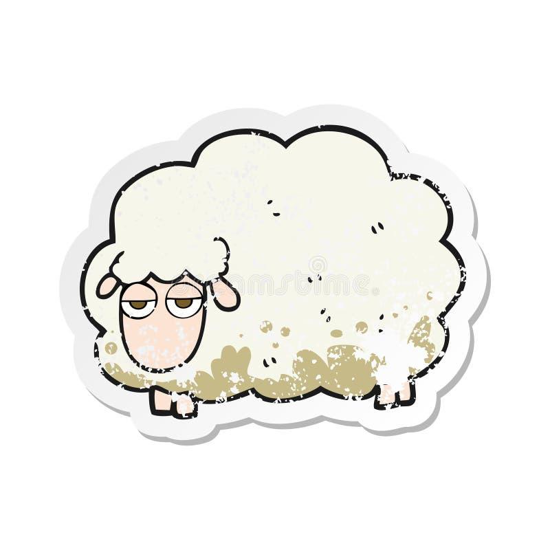 etiqueta afligida retro de um carneiro enlameado do inverno dos desenhos animados ilustração do vetor