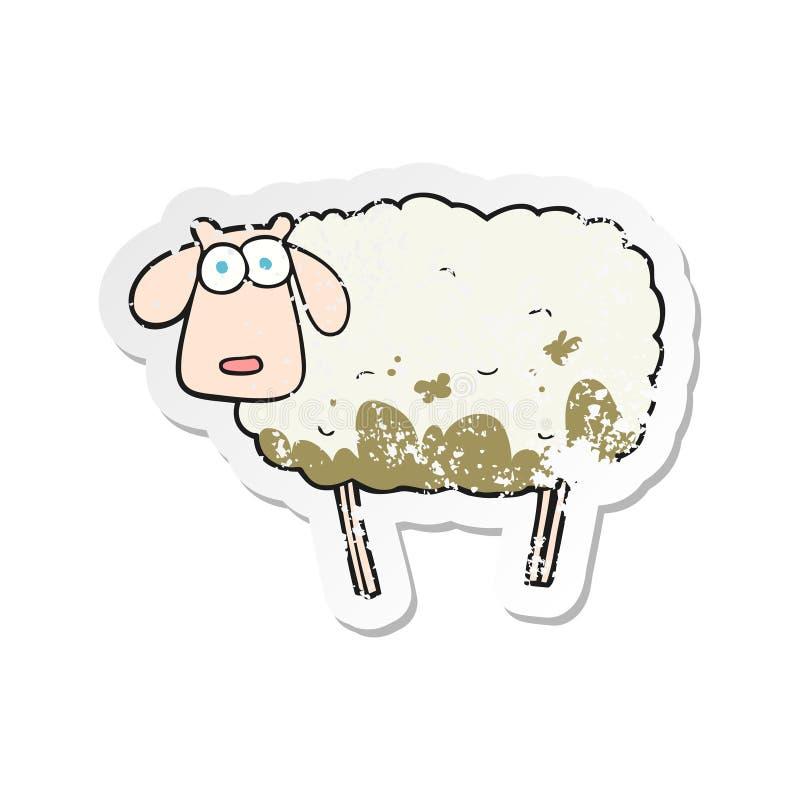 etiqueta afligida retro de um carneiro enlameado dos desenhos animados ilustração royalty free