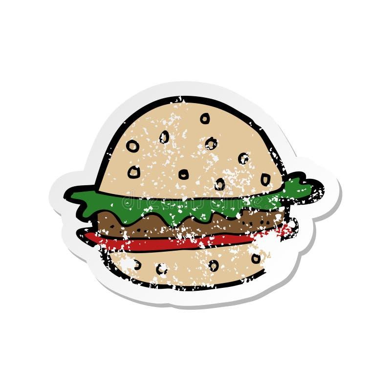 etiqueta afligida retro de um Hamburger dos desenhos animados ilustração do vetor