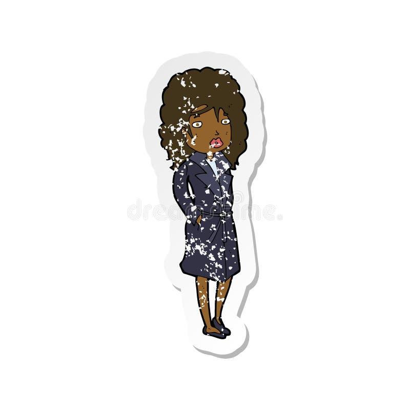 etiqueta afligida retro de uma mulher dos desenhos animados no revestimento de trincheira ilustração royalty free