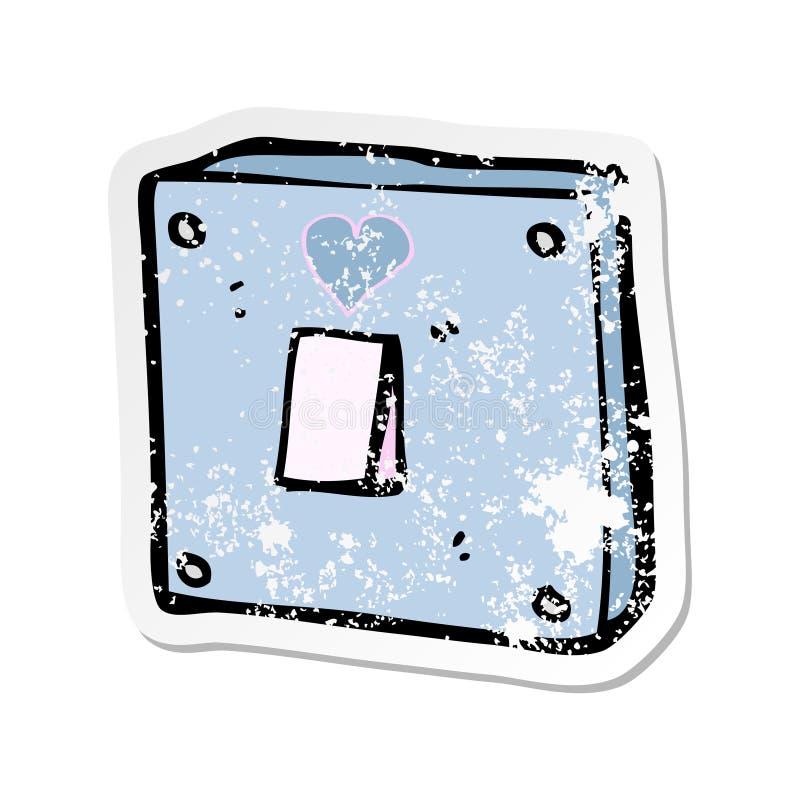 etiqueta afligida retro de uns desenhos animados para girar-me no interruptor da luz ilustração do vetor