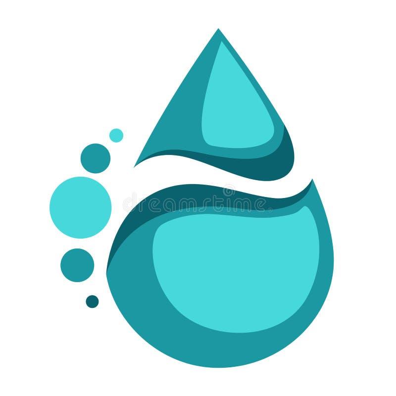 Etiqueta aislada descenso de la bebida del extracto del icono del agua ilustración del vector