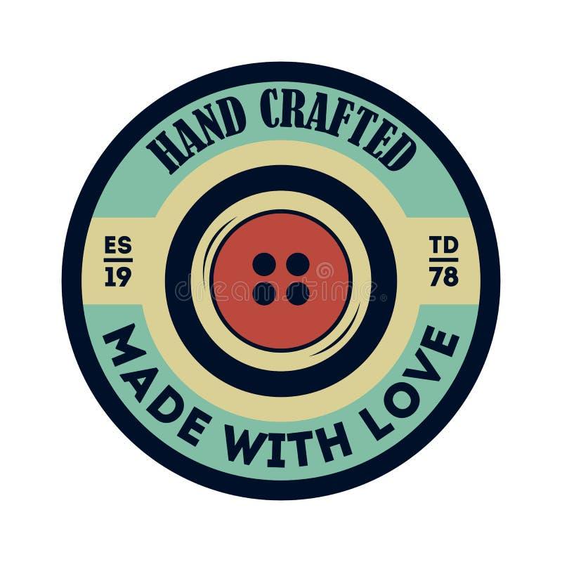 Etiqueta aislada vintage Handcrafted de la ropa ilustración del vector