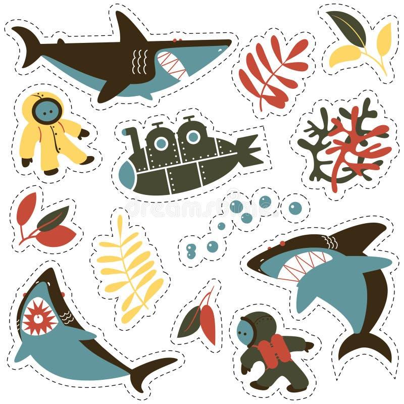 A etiqueta ajustou-se com tubarões irritados, os mergulhadores bonitos e o submarino ilustração do vetor