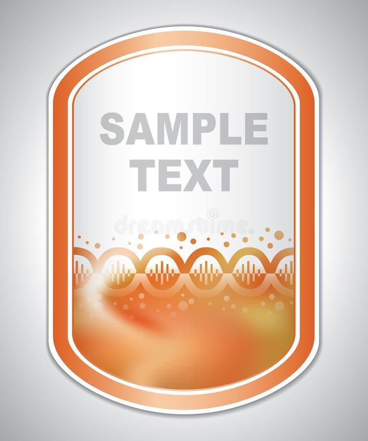 Etiqueta alaranjada abstrata do laboratório ilustração stock
