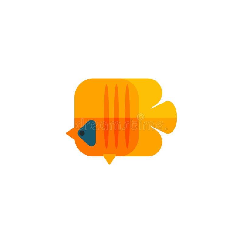 Etiqueta amarela de Angel Fish Primitive Style Childish ilustração do vetor