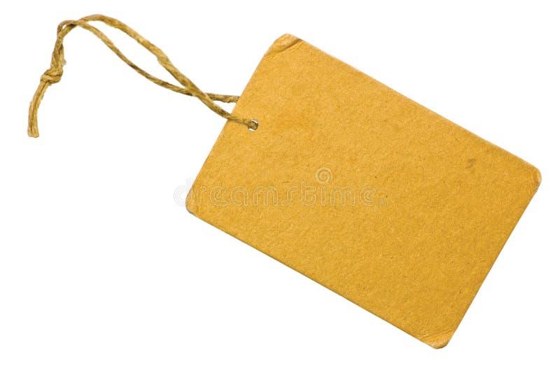 Etiqueta amarela em branco do Tag da venda do cartão isolada fotografia de stock