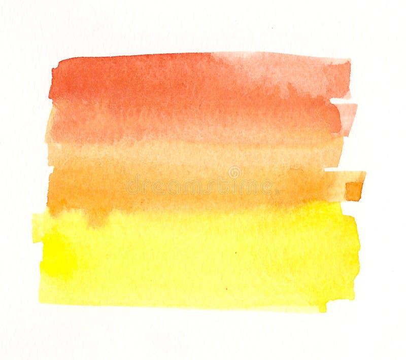 Etiqueta amarilla anaranjada hecha a mano de la acuarela stock de ilustración
