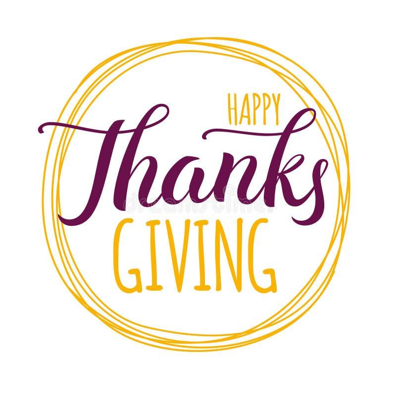 Etiqueta, amarillo y púrpura dibujados mano feliz de las letras de la acción de gracias libre illustration