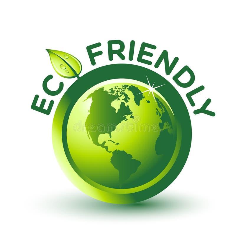 Etiqueta AMIGÁVEL verde do vetor ECO ilustração royalty free