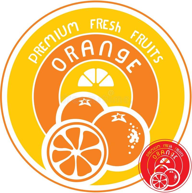 Etiqueta anaranjada de la fruta stock de ilustración