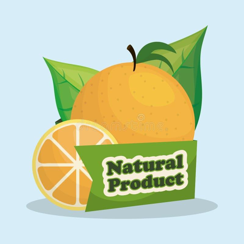 etiqueta anaranjada del mercado de producto natural ilustración del vector