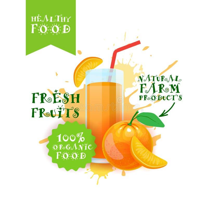 Etiqueta anaranjada fresca de Juice Logo Natural Food Farm Products sobre fondo del chapoteo de la pintura stock de ilustración