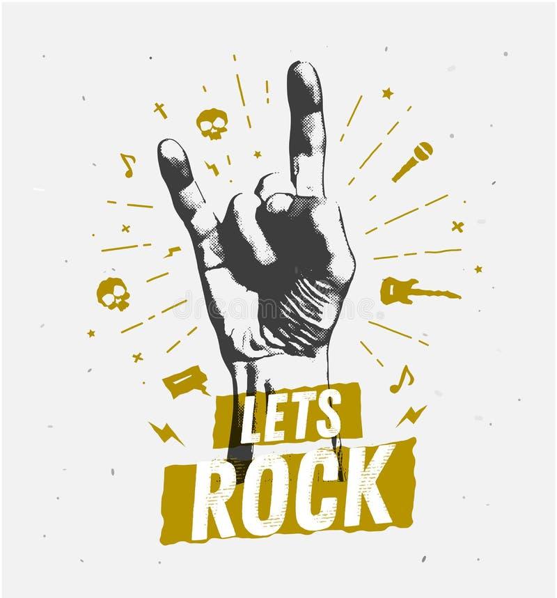 Etiqueta antiga monocromática do vintage do moderno, crachá, rock and roll da crista para o logotipo do cartaz do inseto ou roupa ilustração stock