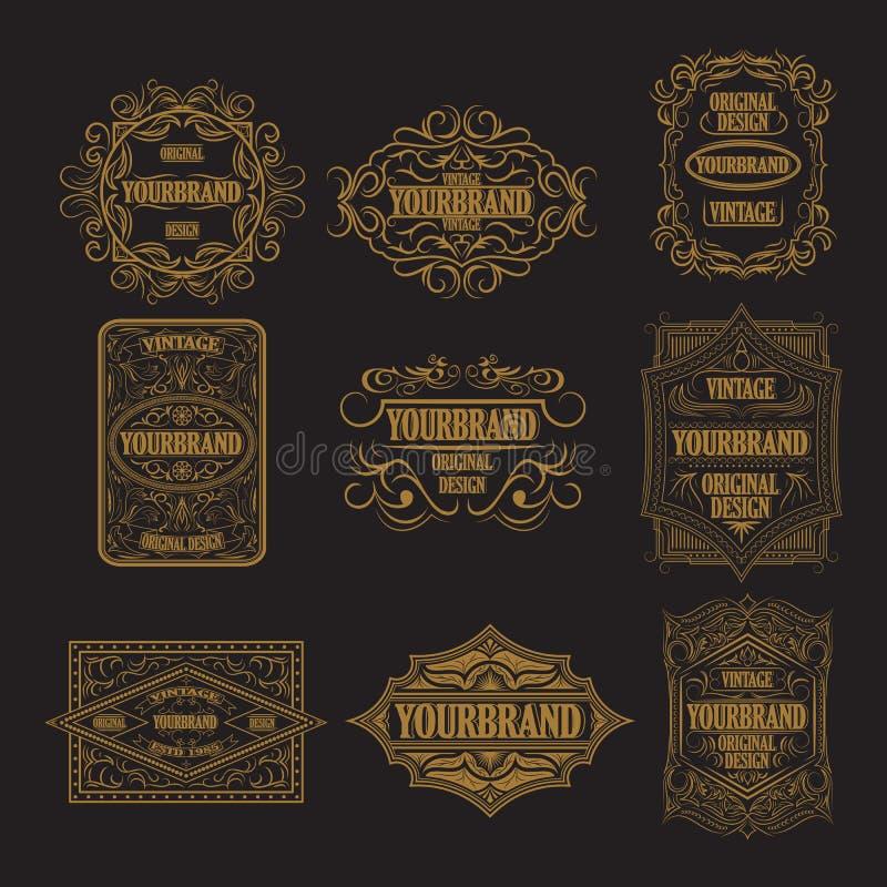 Etiqueta antiga, projeto do quadro do vintage, logotipo retro ilustração do vetor