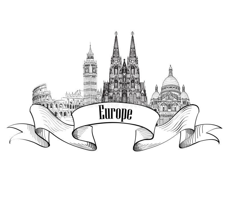 Etiqueta arquitectónica de Europa Edificios y señales famosos Ca europeo stock de ilustración